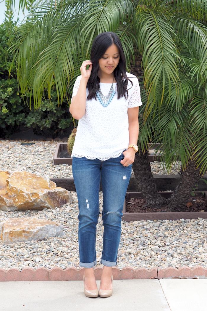fancy casual boyfriend jeans outfit