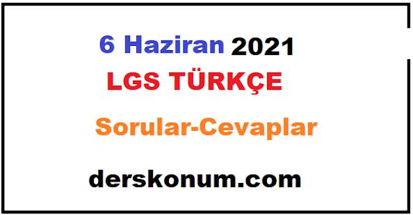 6 Haziran 2021 LGS TÜRKÇE SORULARI ve CEVAPLARI