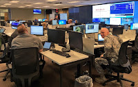 Photo of national guard staff in State EOC