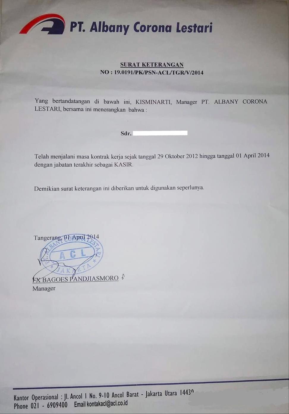 Contoh Surat Paklaring Indomaret Dari Pt Albany Corona Lestari Lowongankerjacareer Com