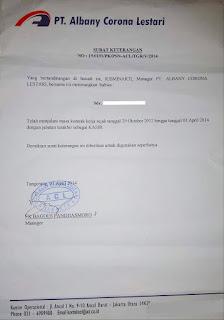 Contoh Surat Paklaring Indomaret 2020 contoh surat Paklaring  PT Albany Corona Lestari