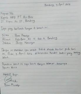 Contoh Surat Izin Tidak Masuk Kerja Karena Sakit Tulis Tangan Sendiri