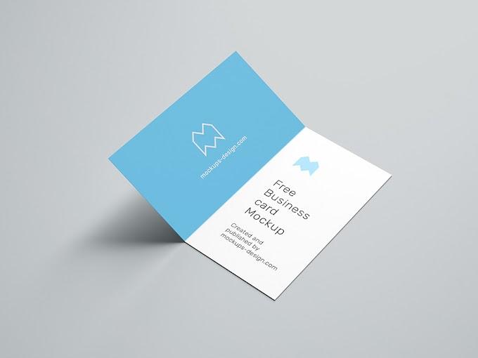 Free folded business card mockup / 90x50 mm