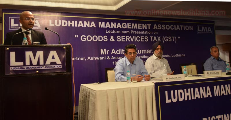 CA Aditya Kumar addressing the gathering during seminar on Implications of GST by LMA