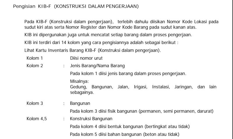 Panduan Cara Pengisian Kartu Inventaris Barang (Kib) F Konstruksi DalamPengerjaan Hal 2 Inventaris Sekolah