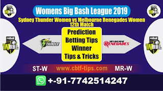 Who will win Today, WBBL T20 2019, 12th Match ST-W vs MR-W