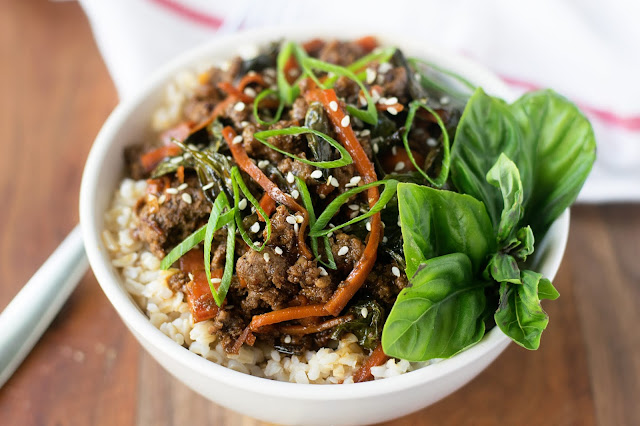 The finished bowl of Thai Basil Beef served over white rice.
