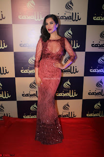 Actress Sophie Choudry in Transparent Red Dress (12).JPG