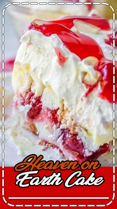 Heaven on Earth Cake with delicious layers of angel cake, sour cream pudding, cherry pie filling, whipped topping, and almonds. Creamy and decadent, this cherry trifle is a sure crowd pleaser!