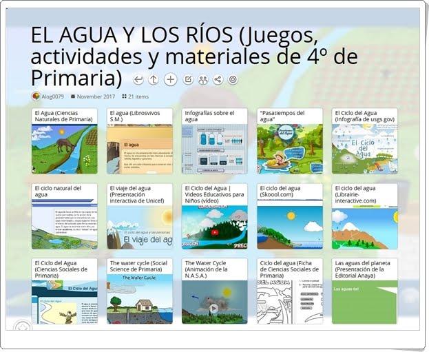 """""""21 Juegos, actividades y materiales para el estudio de EL AGUA Y LOS RÍOS en 4º de Primaria"""""""