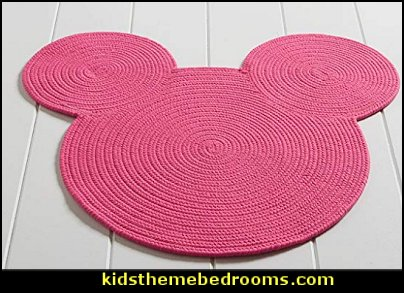 Disney Braided Mickey Mouse Rug, 3' x 3', Minnie Pink