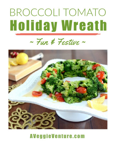 Broccoli & Tomato Holiday Wreath ♥ AVeggieVenture.com, topped with a lemon butter sauce. Dramatic to serve. Tastes great! Easier than it looks! Low Carb!