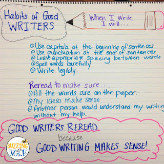 Teaching writing in upper elementary can feel like you're running on a treadmill. Instead of tearing your hair out, try these five things to get your kids writing fluently with purpose! This post explains how to model, get kids to reread their wriitng with an anchor chart, and it's got a free download with prompts for think alouds during writing! All of these tips work with the Writer's Workshop model!