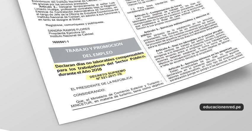 Conoce los días oficiales no laborables para el 2018 (D. S. Nº 021-2017-TR)