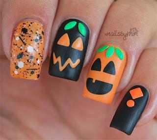 uñas halloween calabazas felices