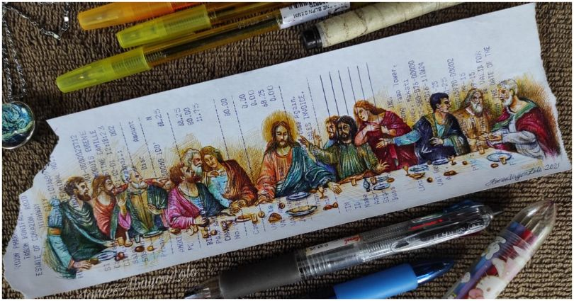 "Amazing ""Last Supper"" art using ballpens on receipt goes viral"