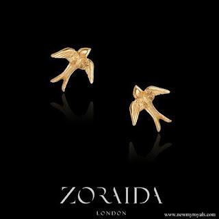 Meghan Markle wore Catherine Zoraida gold swallow stud earrings