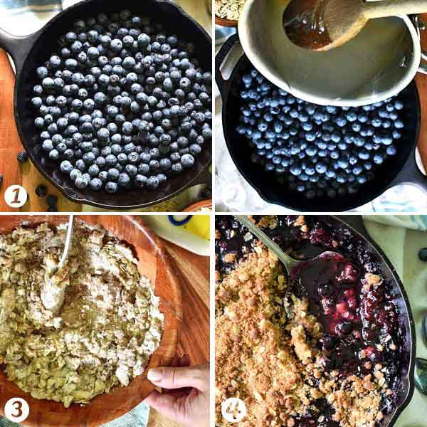 Step by step photo tutorial of how to make blueberry crisp with a simple syrup and crumb topping