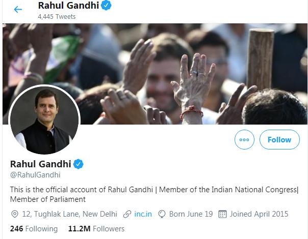 Congress president Rahul Gandhi Twitter Followers