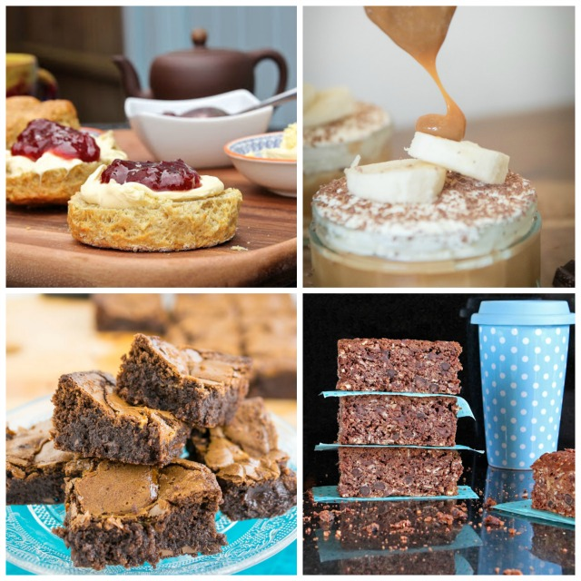 Free from Bake Recipes -  Gluten Free Scones, Gluten Free Banoffee Pie, Cacao-Courgette Breakfast Cake, Gluten Free Chocolate Orange Brownie