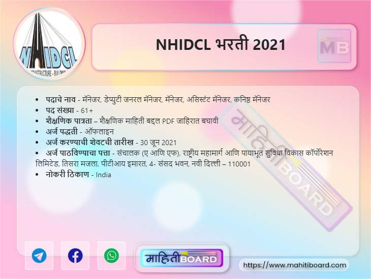 NHIDCL Bharti 2021