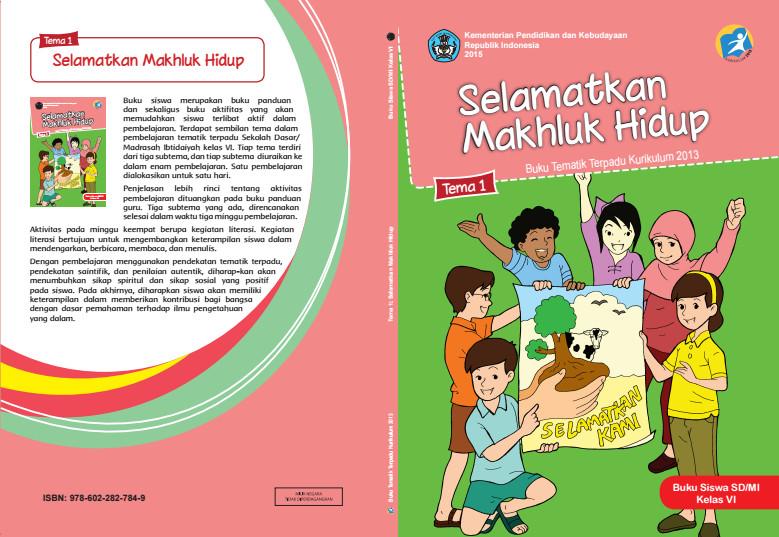 Download Buku Tematik Kurikulum 2013 SD/MI Kelas 6 Tema 1 Selamatkan Makhluk Hidup Edisi Revisi Format PDF