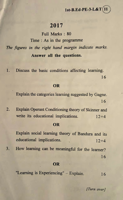 Get Free Odisha B.ed Course Question Paper Pdf Download (2017-2019)