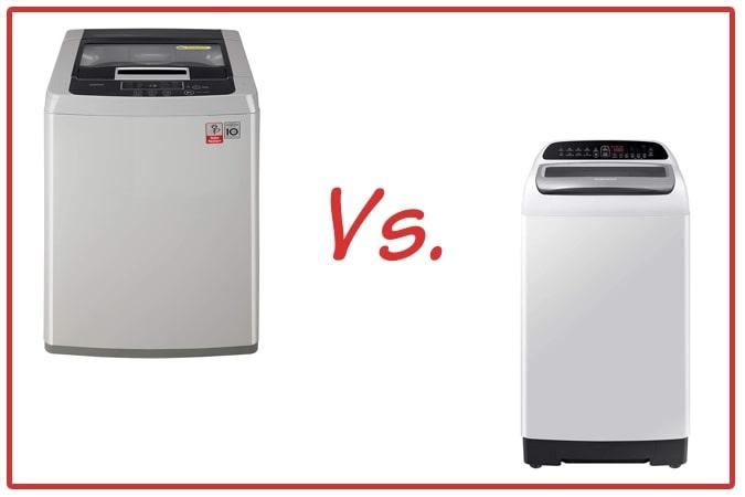 LG T7585NDDLGA (left) and Samsung WA65T4262GG/TL (right) Washing Machine Comparison.