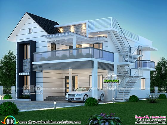 Modern mixed roof 4 bedroom house