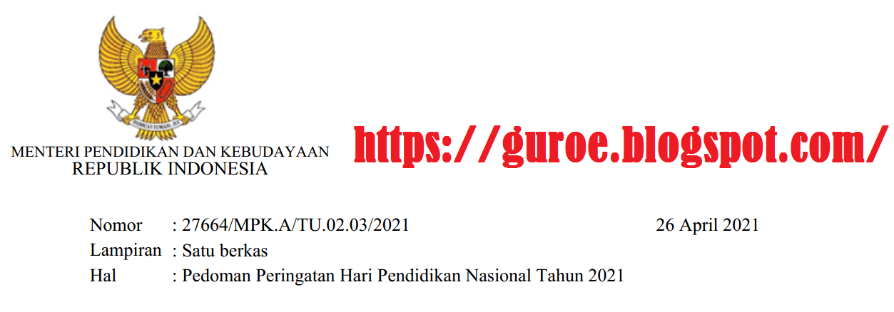 Panduan Upacara Peringatan Hari Pendidikan Nasional (Hardiknas) Tahun 2021