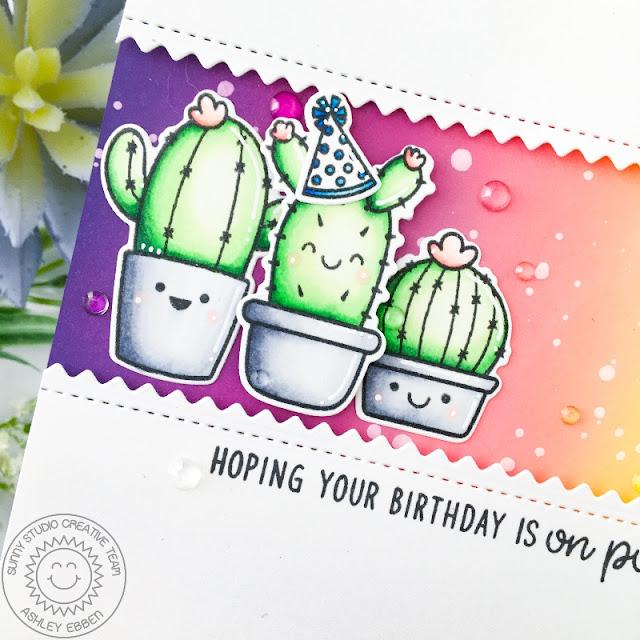 Sunny Studio Stamps: Looking Sharp Slimline Dies Birthday Card by Ashley Ebben