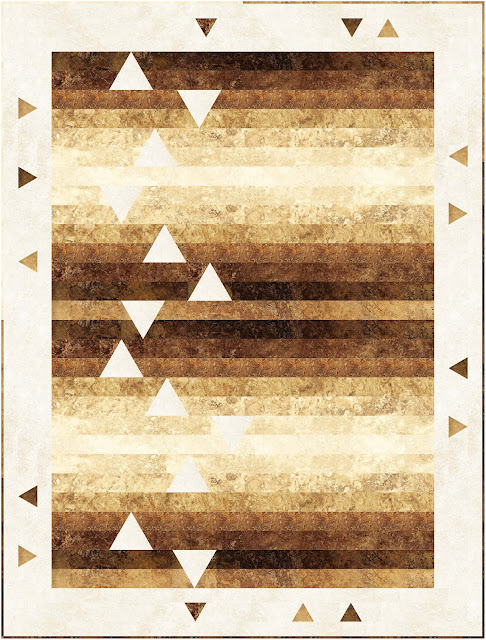 Precut-friendly strip quilt with inset triangle accents
