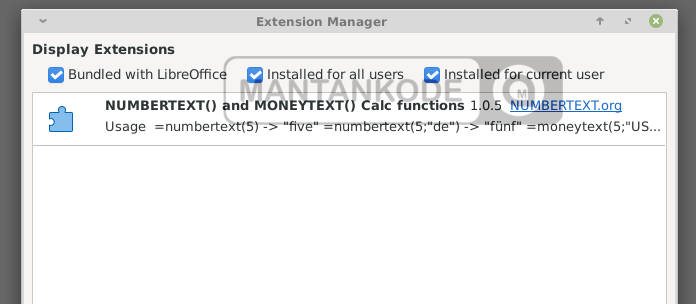 Ektension moneytext libreoffice - mantankode