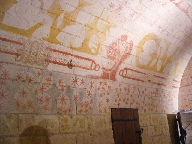 Painted decoration on the prison cell of Ludovico Sforza, Loches, France. Photo by Loire Valley Time Travel.