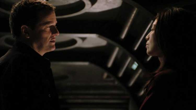 "Louis Ferreira as Young and Ming Na as Wray in the SGU episode ""Space"""