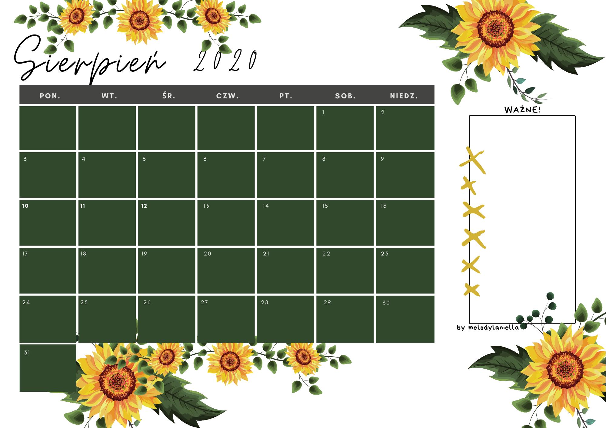 kalendarz sierpień 2020 do druku z liskiem pomarańczowy we wzorki do wydruku pdf darmowy blog graficzny a4