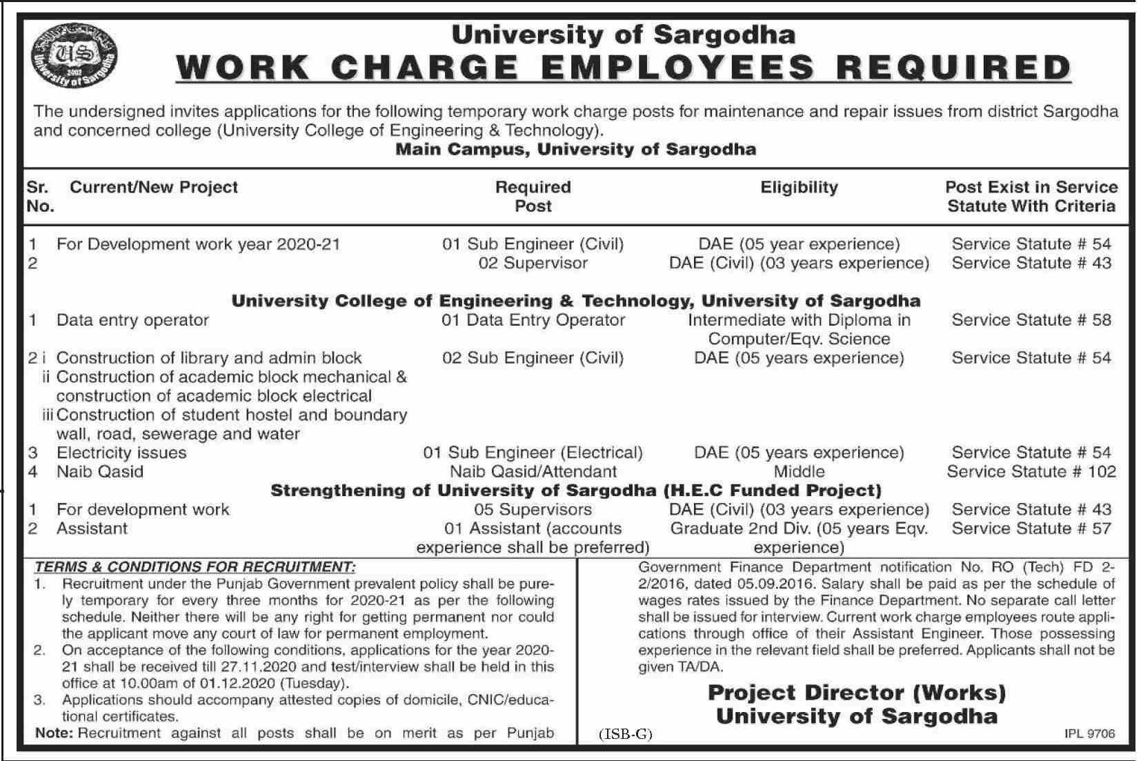 University Of Sargodha November 2020 Job Advertisement in Pakistan 2020