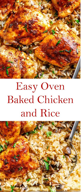 Easy Oven Baked Chicken and Rice #Easyrecipe #Ovenbakedchicken #bakedchicken #chickenandrice #Chickenrecipe