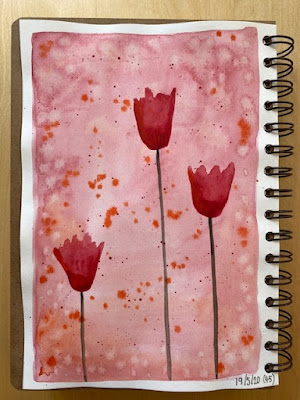 Watercolour pink tulips with speckled background