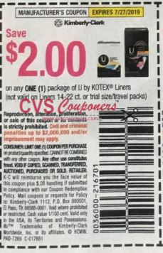 "$2/1 U By Kotex Liners Coupon from ""SMARTSOURCE"" insert week of 6/23."