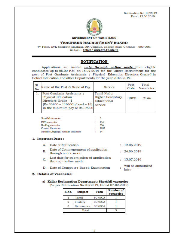Direct Recruitment for the post of Post Graduate Assistants / Physical Education Directors Grade-I - 2018-2019 - TN State Notification