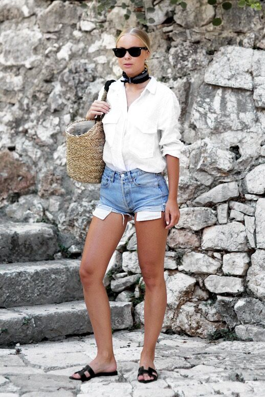 Victoria Tornegren Denim Cut Off Shorts, Hermes Slippers