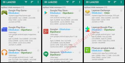 Daftar aplikasi pabrikan dibekukan di Link2SD 1