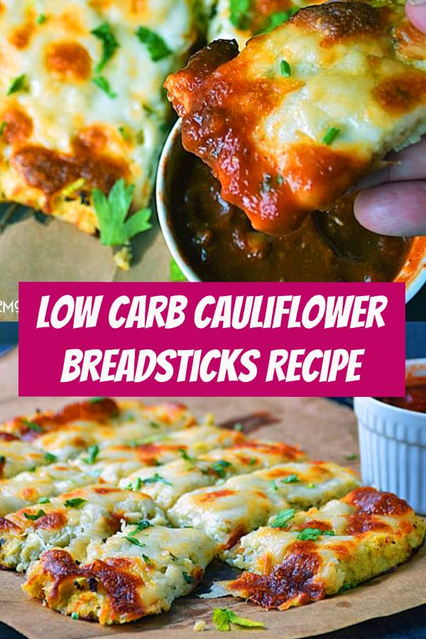 Low Carb Cauliflower Breadsticks with fresh herbs, garlic, and lots of ooey gooey cheese atop a cauliflower crust looks and tastes like cheesy bread. #Cauliflower #lowcarb #appetizer #Breadsticks