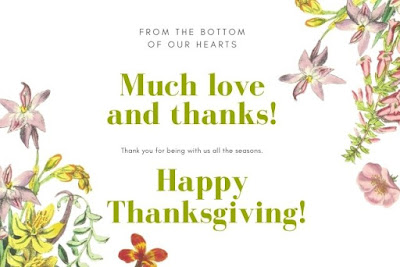 Much love and thanks happy thanksgiving written on white background.