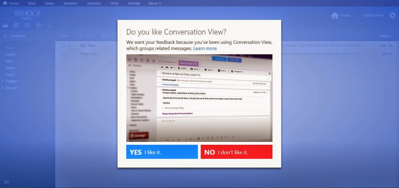 Conversation View in Yahoo Mail