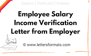 Employee Salary Income Verification/Proof Letter from Employer