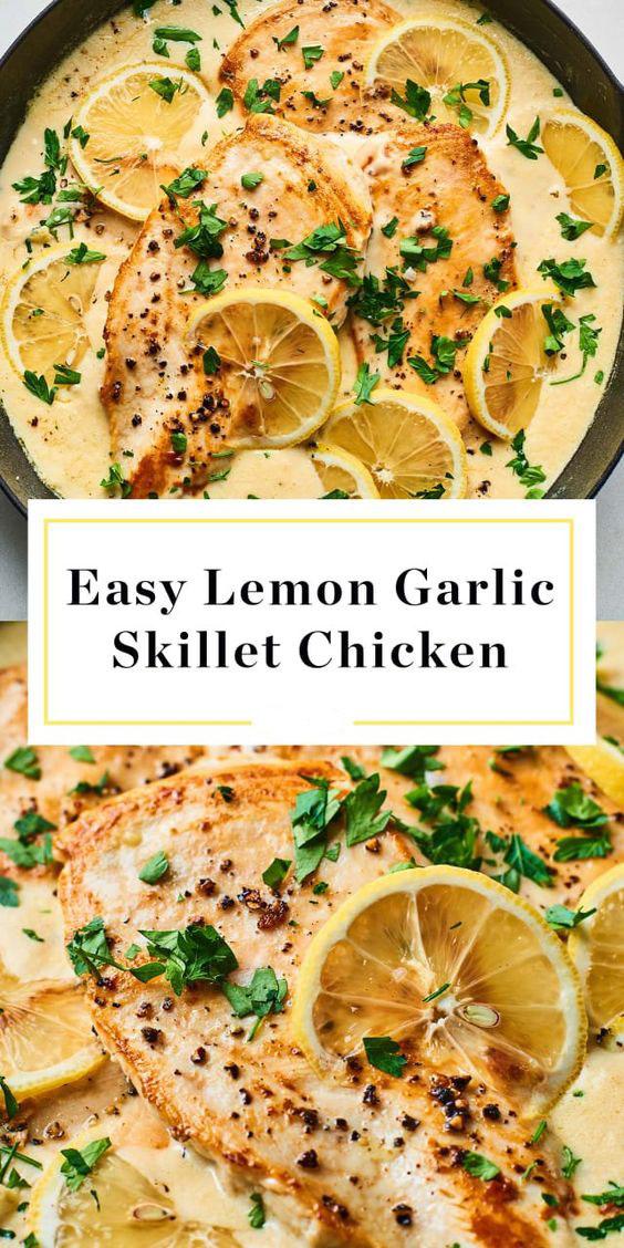 Easy Creamy Lemon Garlic Skillet Chicken Recipe