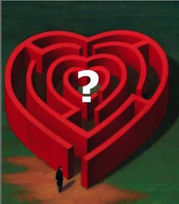 Labirinto em forma de coração, interrogação de alguém.