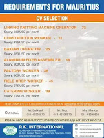 Jobs Requirement for Mauritius